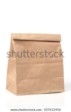 folded paper bag - stock photo