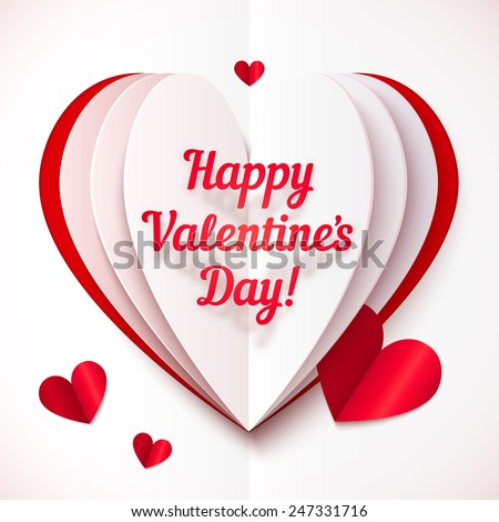 Folded paper heart with Happy Valentines Day text - stock photo