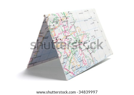 Folded Paper Street Map on White Background - stock photo