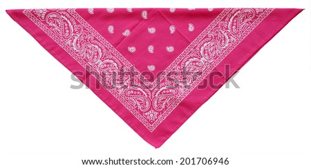 Folded pink bandanna isolated on white background - stock photo