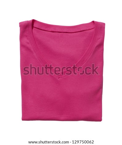 Folded pink t-shirt isolated on white - stock photo