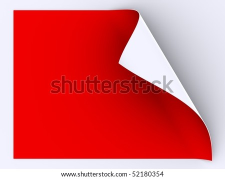 folded sheet of red paper - stock photo
