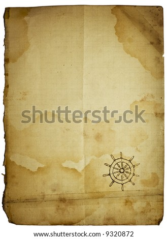 Folded stained patched with sticky tape vintage paper with steering-wheel symbol in corner. Conceptual sea paper background, isolated with clipping path - stock photo
