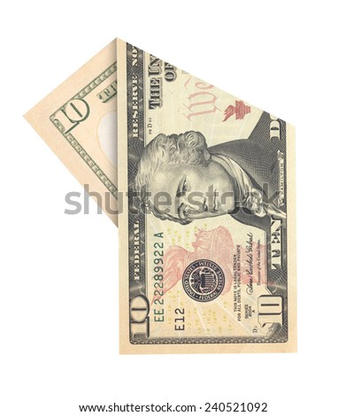 Folded ten dollars bill isolated on white background - stock photo
