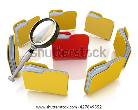 Folder and file search with magnifying glass in the design of the information associated with the search for the right information. 3d illustration - stock photo