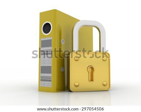 folder and lock - stock photo