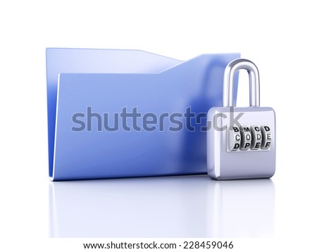 folder and lock. Data security concept. 3d illustration - stock photo