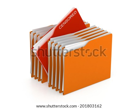 Folder concept - directory - censored files - 3d rendering - stock photo