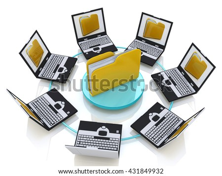 Folder connected to computer network in the design of the information related to the transfer of data. 3d illustration - stock photo