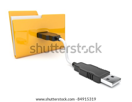 Folder 3d icon. USB connect