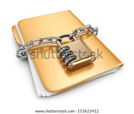 Folder 3D. Secure data concept. Isolated on white background - stock photo