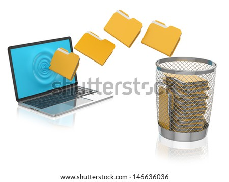 Folder depart from the laptop in trash can - stock photo