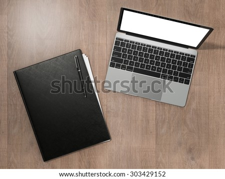 Folder for papers and laptop on a wooden texture.  High resolution 3d - stock photo