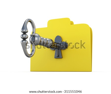 Folder for papers with the key. The concept of information security. 3d illustration. - stock photo