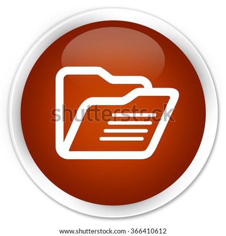 Folder icon brown glossy round button - stock photo