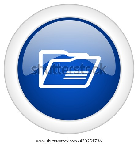 folder icon, circle blue glossy internet button, web and mobile app illustration - stock photo