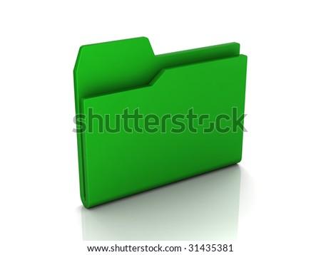 Folder icon from set. Green folder isolated on white - stock photo