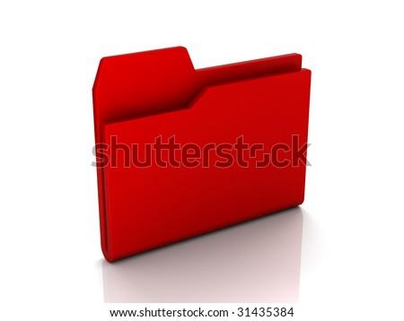 Folder icon from set. Red folder isolated on white - stock photo