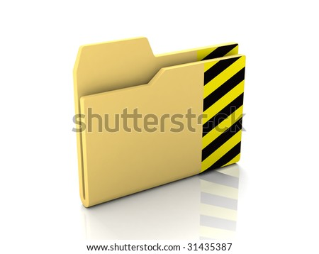 Folder icon from set. Standard yellow folder with caution striped mark isolated on white - stock photo