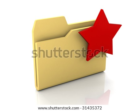 Folder icon from set. Standard yellow folder with red star mark isolated on white - stock photo