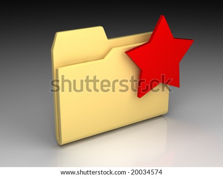 Folder icon set series. Standard yellow folder with red star mark on background of the gradient - stock photo