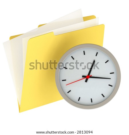 Folder icon with clock isolated over a white background. This is a 3D rendered picture.