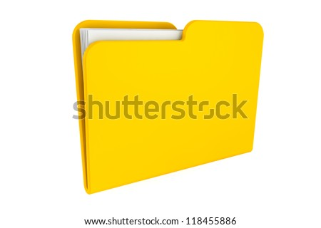 Folder icon with paper on a white background - stock photo