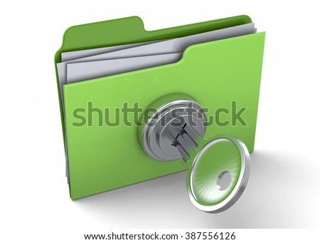 FOLDER LOCKED WITH PASSWORD - 3D - stock photo