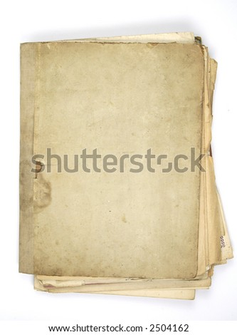 folder of very old note sheets  isolated on white - stock photo