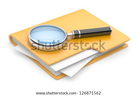 folder search icon - folder under the magnifier. 3d illustration isolated on white - stock photo