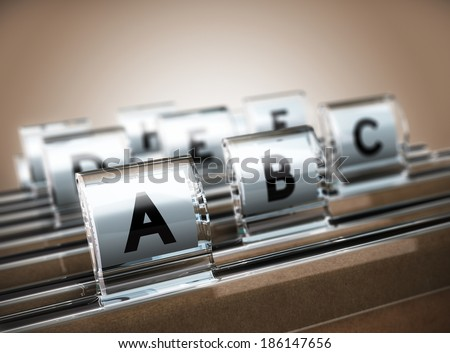 Folder tab organized alphabetically with focus on the A, beige background. Business concept image for illustration of customer data management or address list. - stock photo