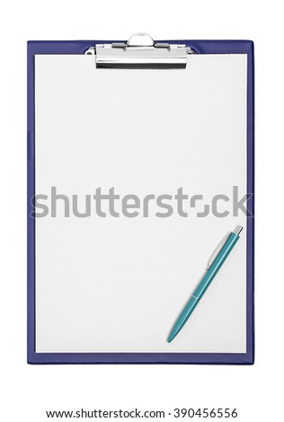 Folder with a sheet and a pen. Isolated on white background.