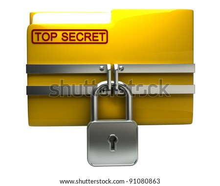 Folder with closed padlock (Top secret) isolated on white background High resolution. 3D image