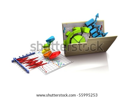 folder with diagram, chart, graph - stock photo