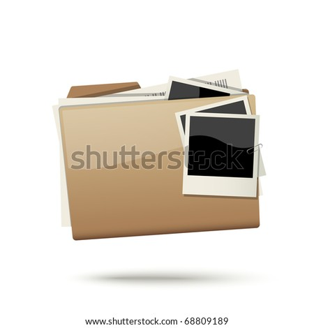 Folder with documents and photo cards isolated on white background