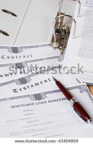 Folder with legal documents for notary signing