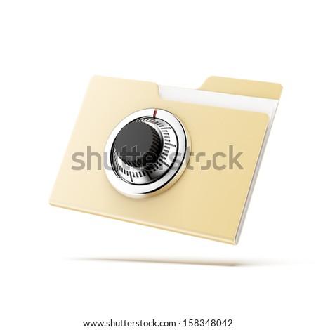 Folder with lock - stock photo