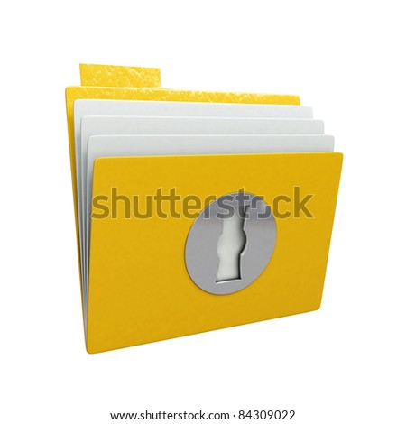 Folder with lock isolated on white background - stock photo