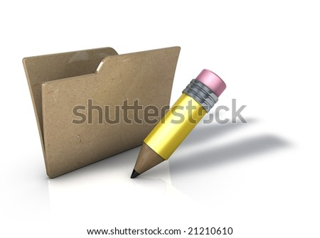 Folder with Pencil and rubber Icon