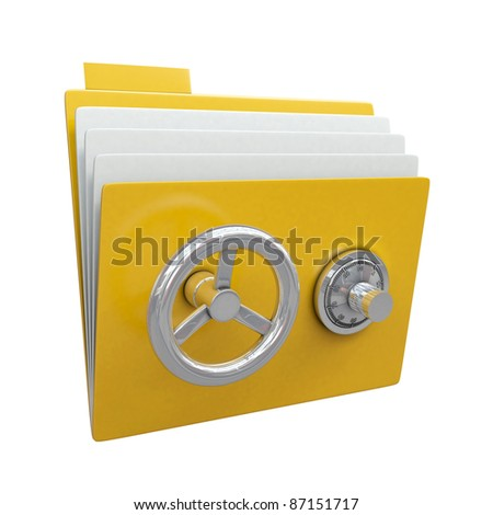 Folder with safe lock isolated on white background - stock photo
