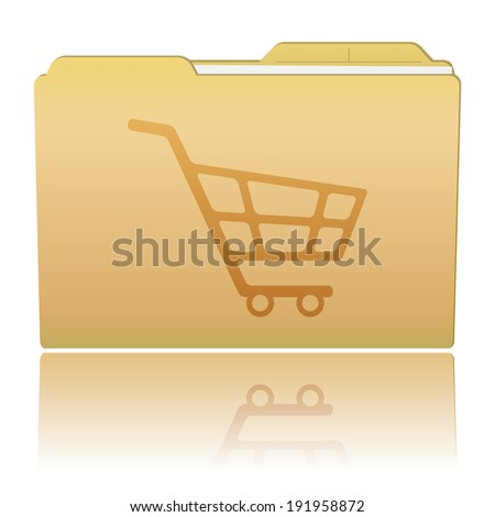 Folder with Shopping Cart - stock photo