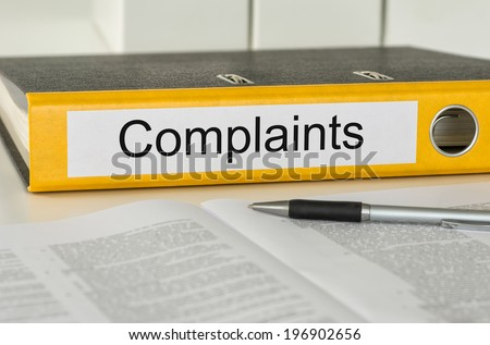Folder with the label Complaints - stock photo
