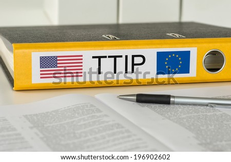 Folder with the label TTIP - stock photo
