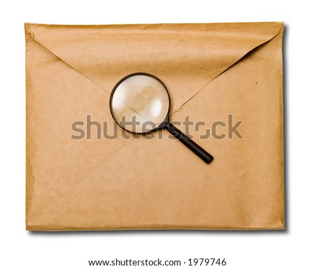 folder with white paper in it. On white background. (envelop) Work path included - stock photo