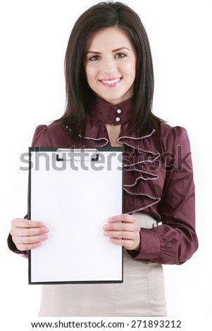 Folder with white sheets of paper - stock photo