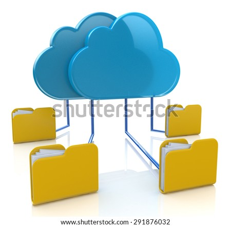 Folders connected in sync with cloud server  - stock photo