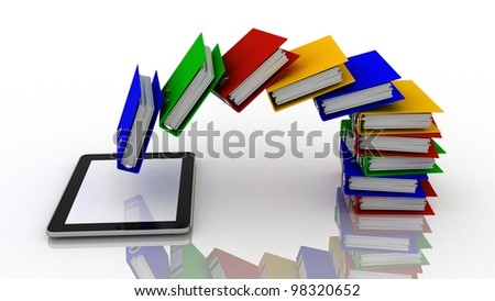 Folders fly into your tablet, 3D images - stock photo