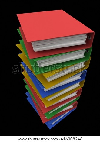 Folders for papers on a black background. 3d render. - stock photo