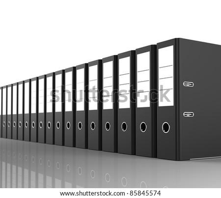 folders in a row - stock photo