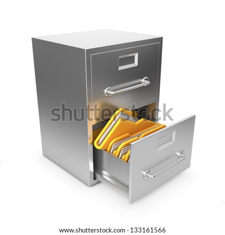 Folders in Archive Drawer. 3d Illustration. - stock photo